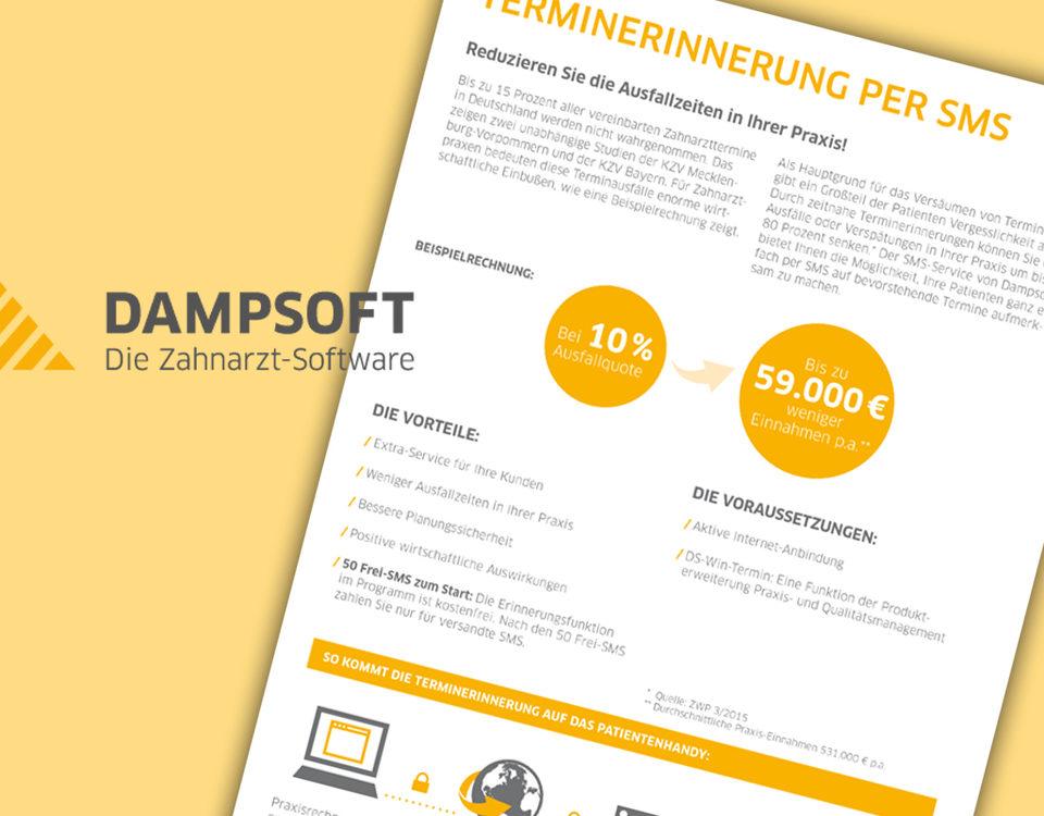 """Broschüre von Dampsoft: """"Terminerinnerung per SMS"""""""